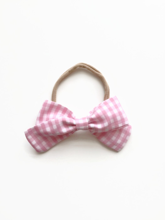 Pink Gingham Hair bow