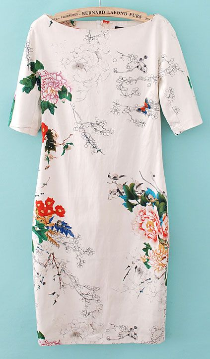 SheInside :  White Short Sleeve Floral Butterfly Print Dress $24.19