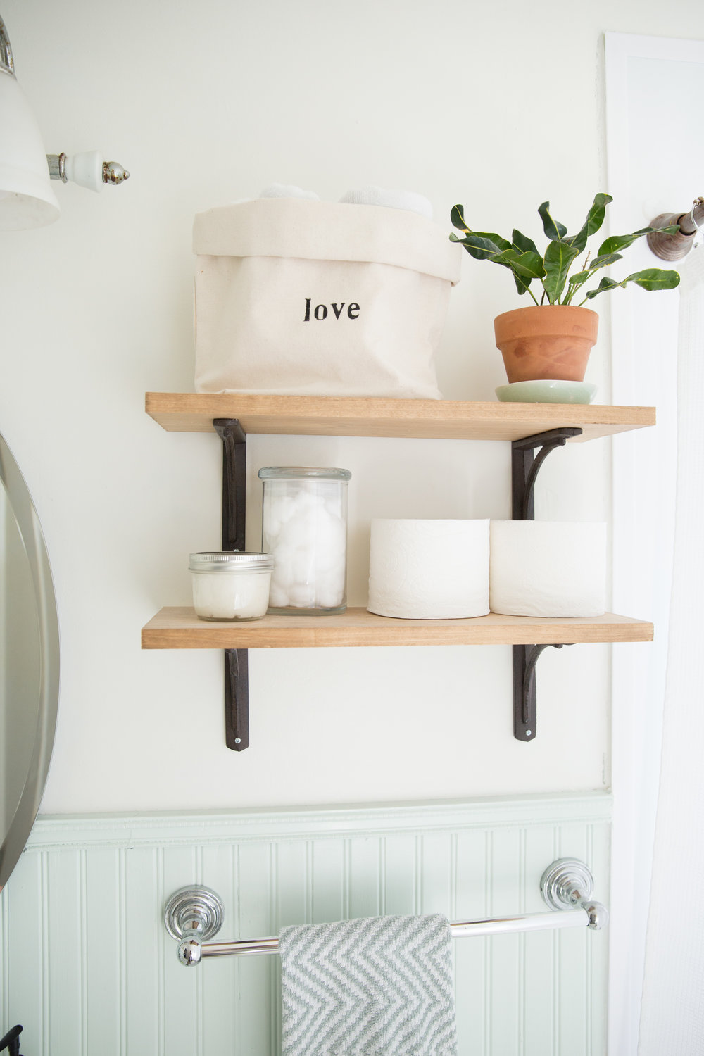 DIY wood wall shelves with metal brackets