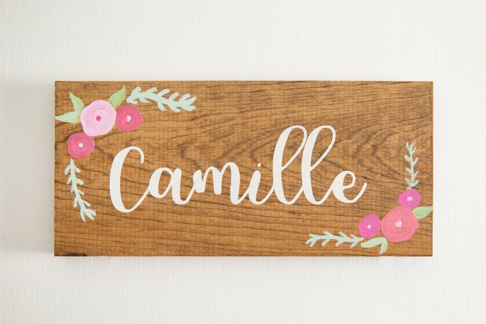 Wood Name Sign on Camille's Door made by The Salted Lantern