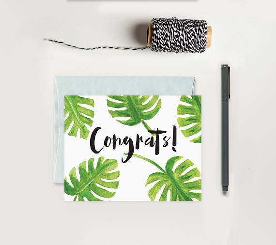 Palm Leaf Congrats Card