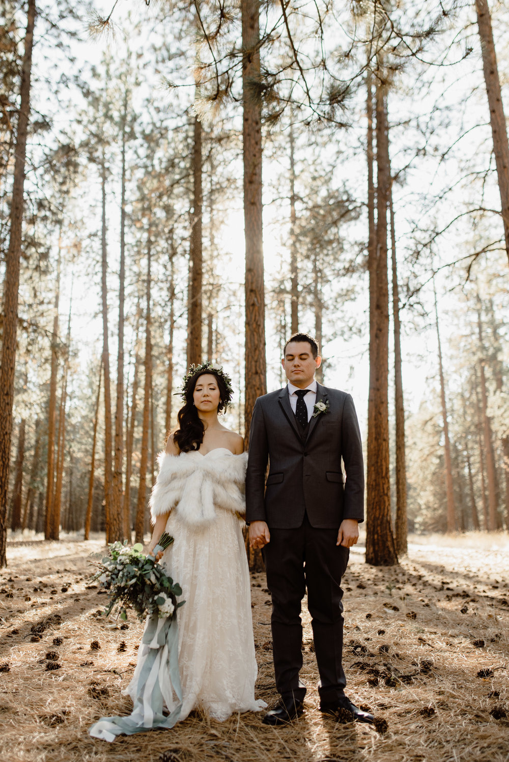 Justin + Christine - Winter Wedding in the Woods | Sisters, OR