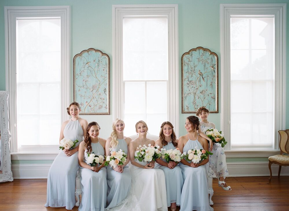 Bridesmaid dresses are  Amsale  via  Alexia's  and florals done by  Meristem Floral !