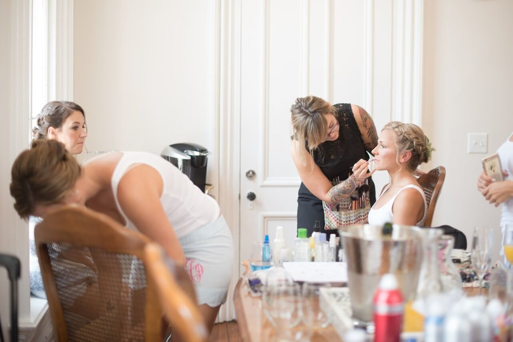 Hair and make-up by in the bridal suite at The Merrimon Wynne House