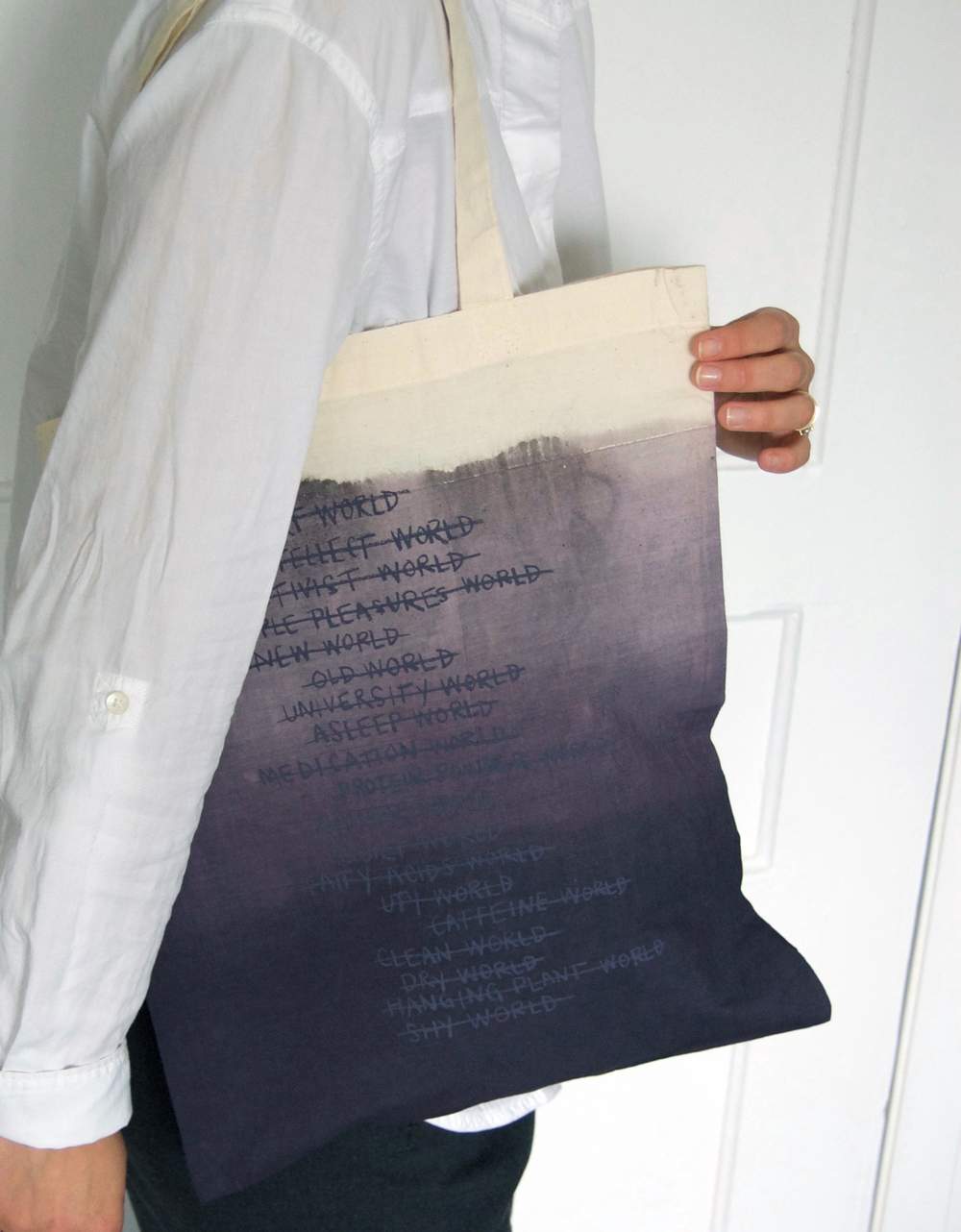 Hannah Enkel 'The Worlds Tote' SAGAN EDITIONS 2016. Hand dyed, silkscreened 100% cotton tote bag. Edition size: 12.