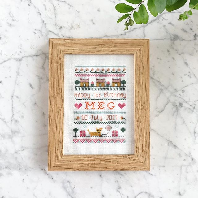For our cousin's 1st birthday, @mad_deneys and I designed and made this personalised cross stitch! Customised with her dog Ruby and pretty flowers. She'll hopefully appreciate our work in a few years! We love her 💕 We would love to do some more 〰️ Custom cross stitch orders welcome. DM us x 🎂🎀🎉🎁🎈