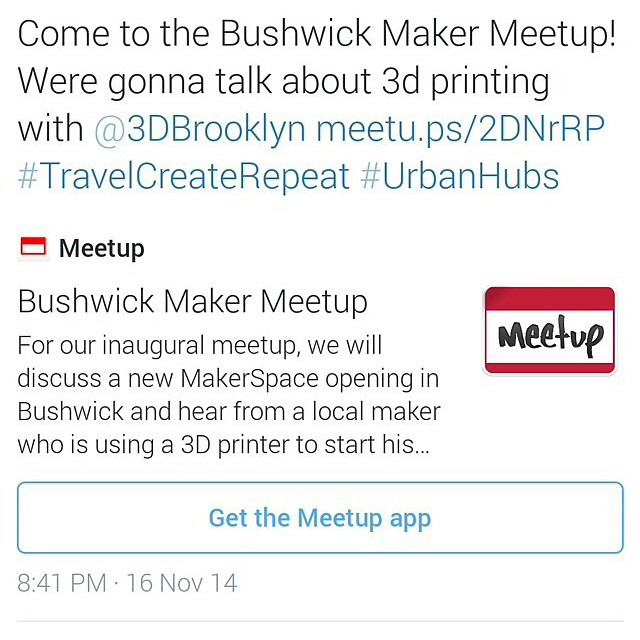 This Thursday (6:30-8)! Come to Bushwick Desks at 49 Wyckoff Ave (Jefferson L) for the first meeting of a new makerspace, by the awesome guys of @urbanhubs + @travelcreaterepeat. I'll be speaking for a bit, so come by and chat, talk about my ABS, or just have a beer!