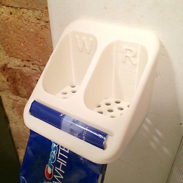 Toothbrush / Toothpaste Holder    #3DPrinted #3DPrinting #3DBrooklyn #Cubify #Design #Brooklyn #ProductDesign