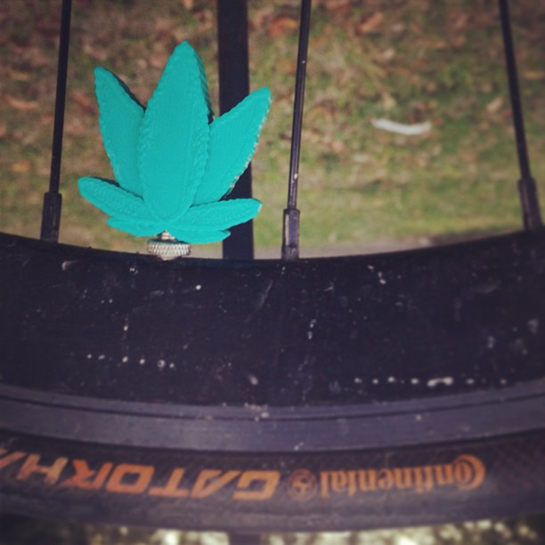 3D Printed Weed Leaf Valve Caps #3D #model #3Dprint #3Dprinter #3dprinted #cubify #3dsystems #makerbot #reprap #shapeways #thingiverse #instagramhub #iphoneonly #igdaily #bestoftheday #instadaily #instagood #bicycle #bike #fixed #fixedgear #fixie #design #nyc #brooklyn #custom #nyc