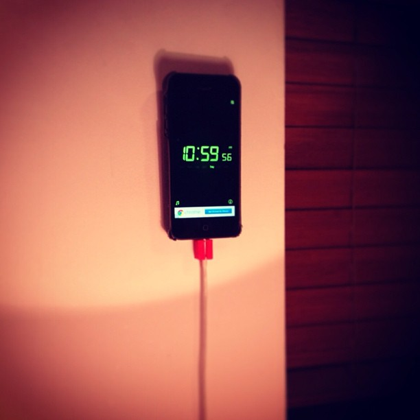 3D printed wall dock. #3d #3dprinted #iphone #igers #apple #iphonedaily #makerbot #alarm #clock