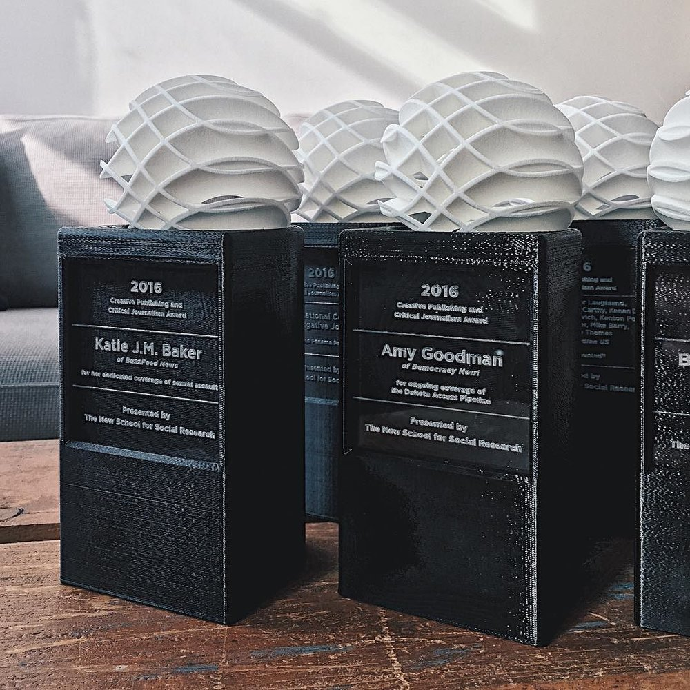 3D printed awards - Laser Cut and etched acrylic - Brooklyn NYC