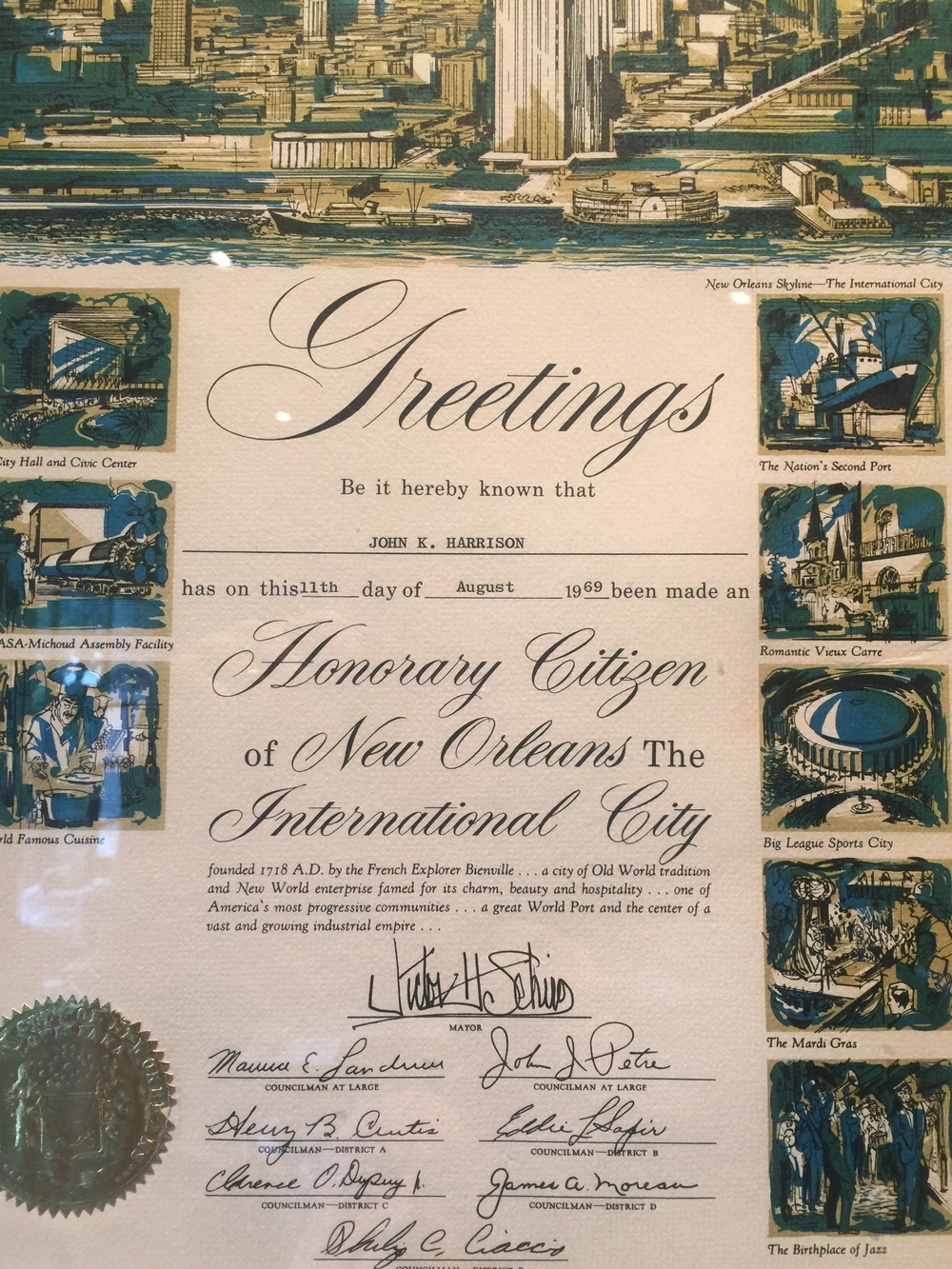 Honorary Citizenship of New Orleans