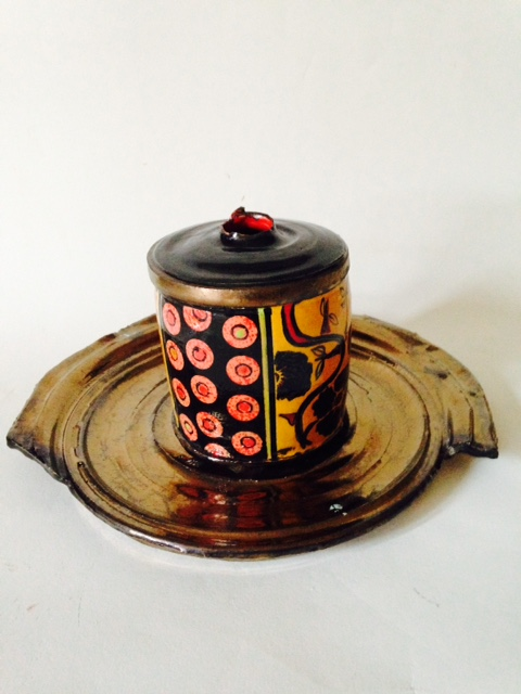 """2015 Mid range fire with gold luster: 5""""x 3 1/2"""""""