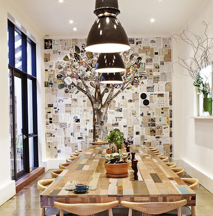 'Graffitree' MURAL by Madeleine Grummet Hawke + Hunter Cafe, Melbourne WINNER of the MELBOURNE DESIGN AWARD 2012