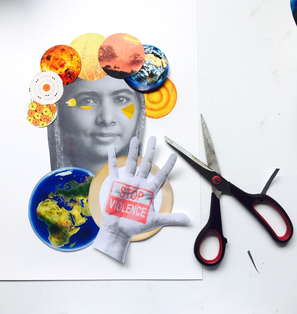 Collage of Malala Yousafzai by Madeleine Grummet #visualstorytelling