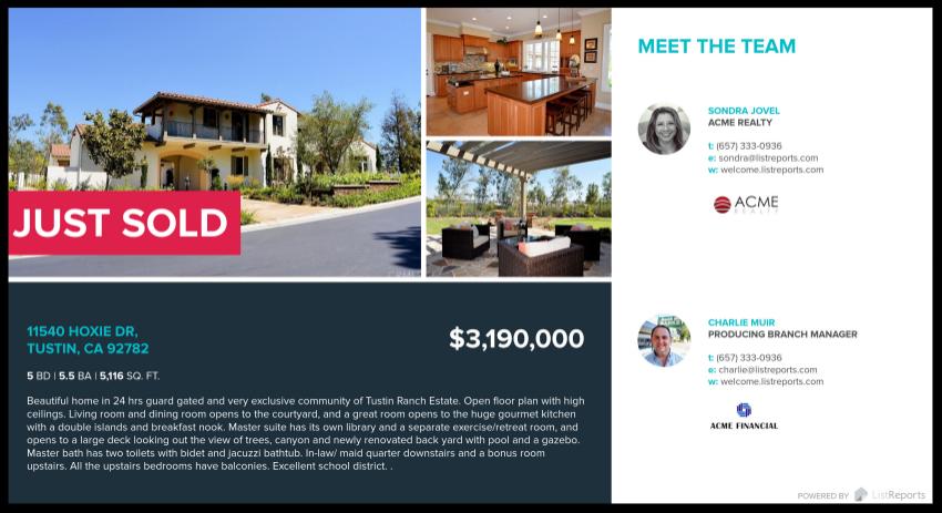 Real Estate Just Sold Postcards | Front |LisReports