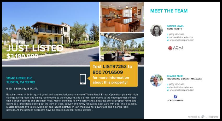 Real Estate Just Listed Postcards | Front | LisReports