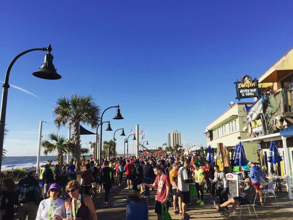 Myrtle beach Mini finish line on the boardwalk