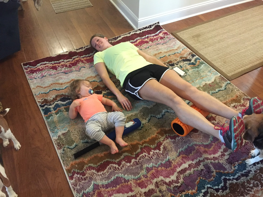 B loves to Foam Roll like Mommy - I was a little tired after that 16-miler