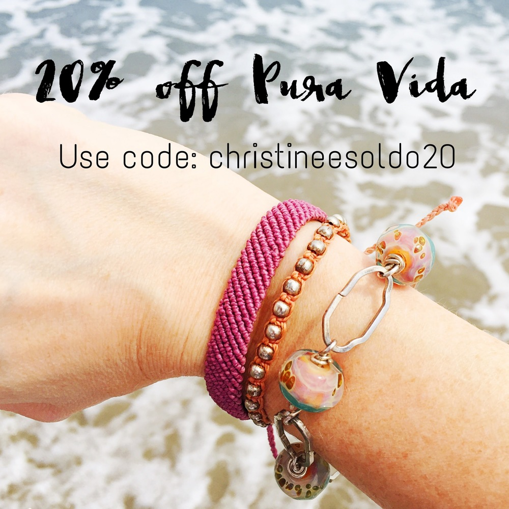 Get a 20% discount on Beachy goods from  pura Vida  using my code: Christineesoldo20