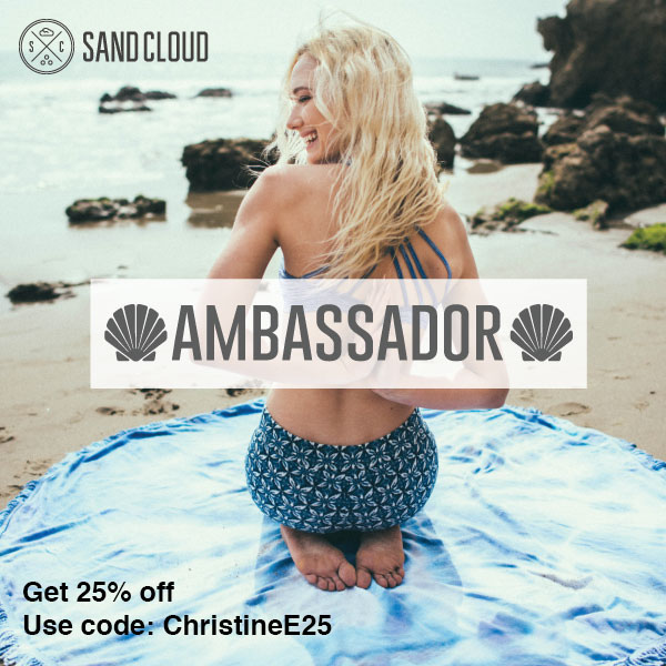 Get 25% off Beach towels and Gear from Sand Cloud and help save Marine life in the process. Use Code: ChristineE25 #savethefishies
