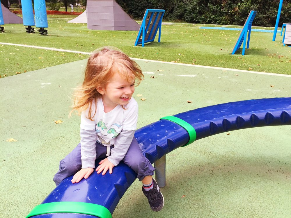 Toddler happiness at a playground