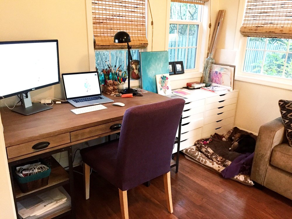 My Home office - not totally decorated, but better than fluorescent lights