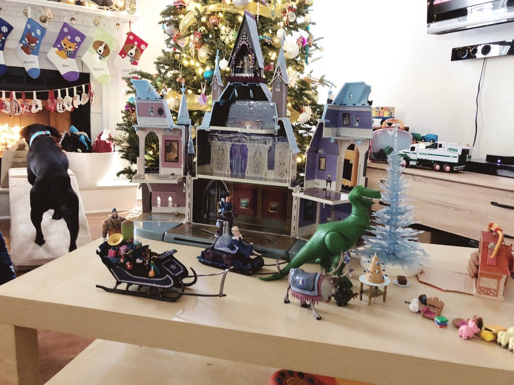 Christmas presents everywhere - B wanted a castle and he definitely got a castle (and played with it all day)