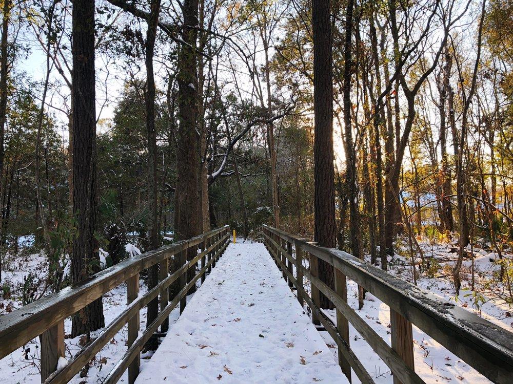 Snowy bridge on my run route