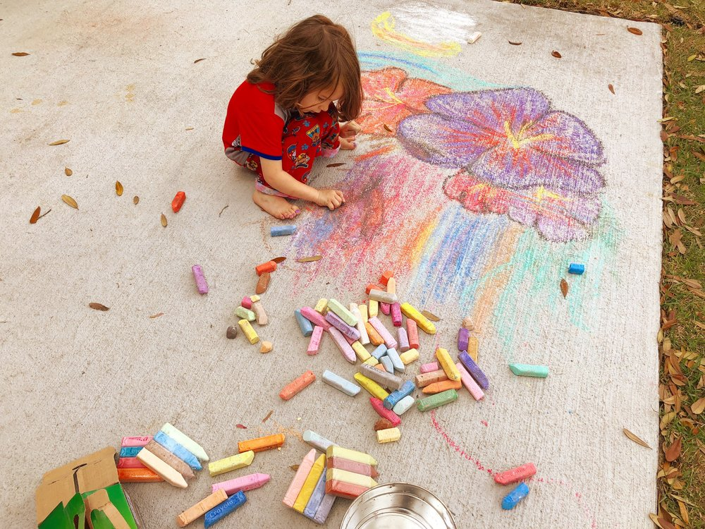 toddler chalk art