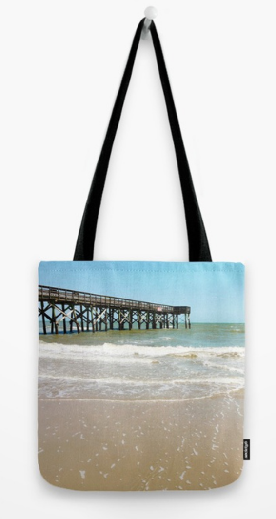 turquoise pier tote bag
