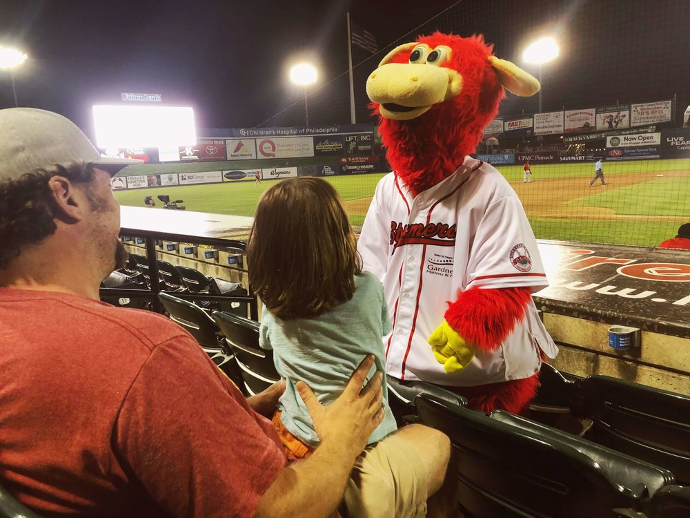 B loves Cylo, the Lancaster Barnstormers mascot