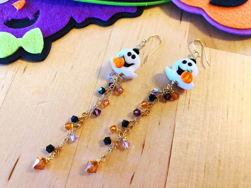 Lampwork and crystal ghost earrings, made by me