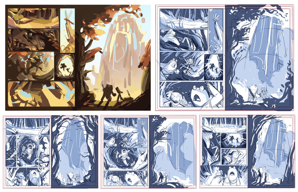 TOP ROW: Color Comp, Final Layout  BOTTOM ROW: Panel Exploration