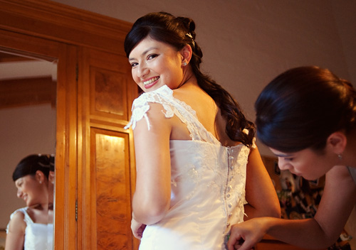 Hand sewn wedding dress with hair to match