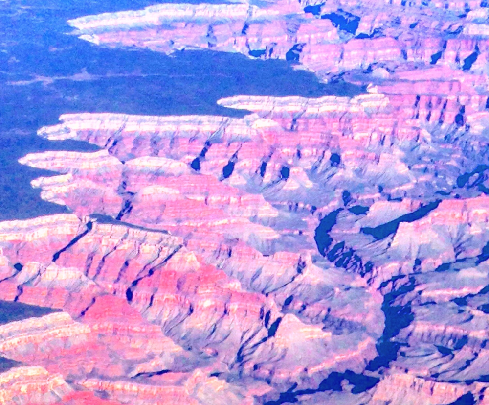 Bird's eye view: The dry terrain, and deep canyons are beautiful in the Grand Canyon, but not in regards to our skin.