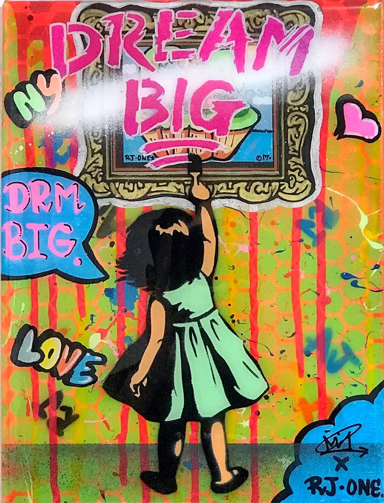 "Title: ""RJ.One Dream Big #3"" Artist: AJ Lavilla x RJ.One Size: 9x12 inches Series: Holiday Drop 2017"