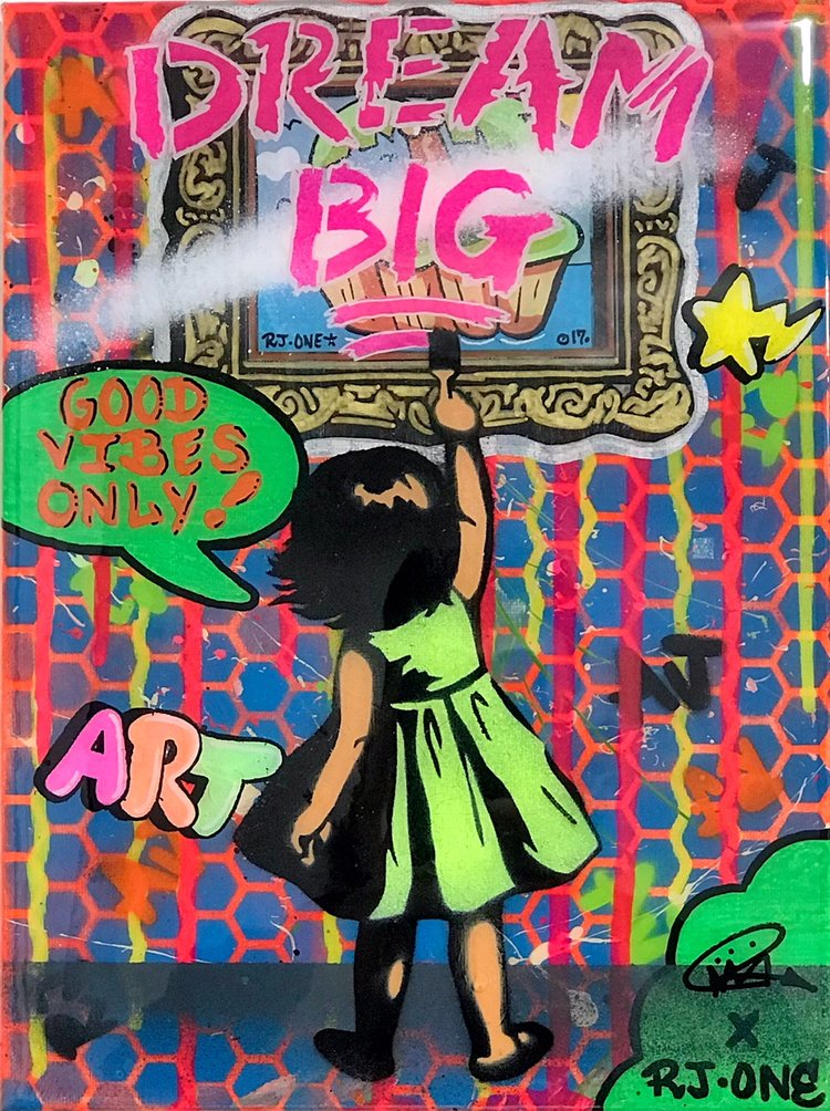 "Title: ""RJ.One Dream Big #4"" Artist: AJ Lavilla x RJ.One Size: 9x12 inches Series: Holiday Drop 2017"