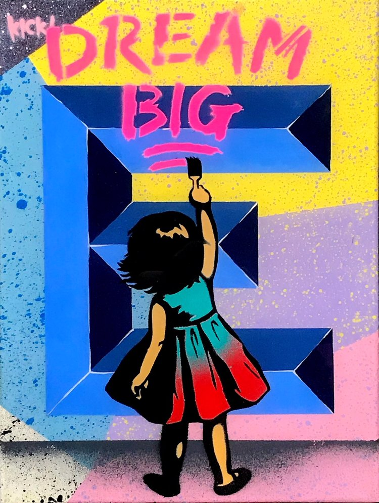 "Title: ""Kick Dream Big #3"" Artist: AJ Lavilla x Kick Size: 9x12 inches Series: Holiday Drop 2017"