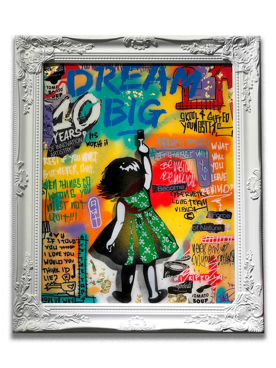 Dream Big (10 years) (sold)   - Paper collage, acryiic, gold leaf, stencil & resin finish on canvas  - 20 x 24 inch frame  - click   here   to contact for inquiry and pricing