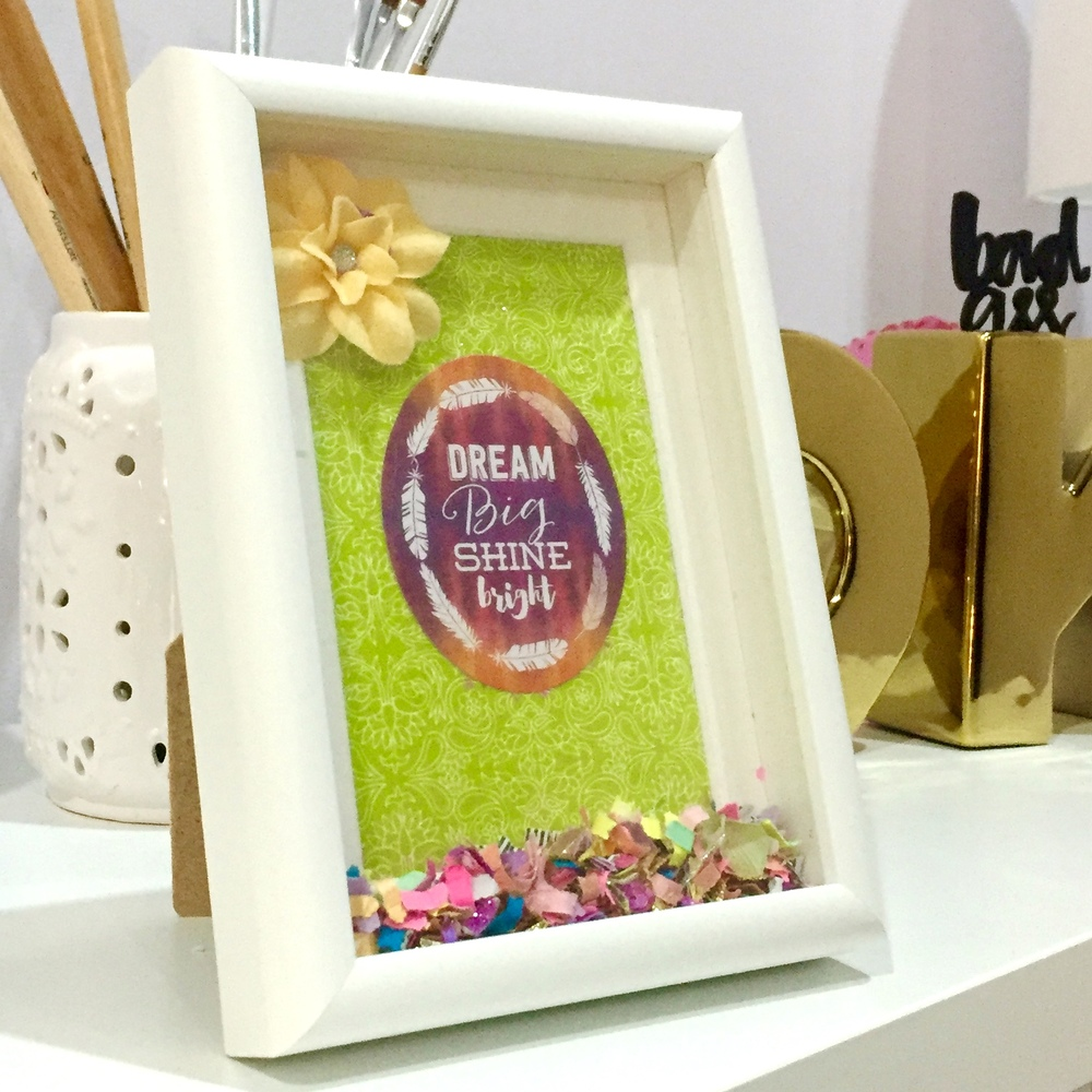 You will be able to add your own personal design aesthetic to your confetti shadowbox!