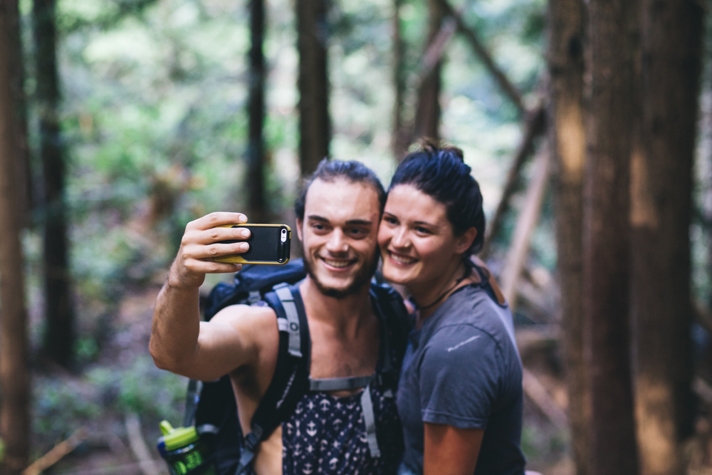 Our hike begins - AJ snapping a quick selfie of him and his woman!