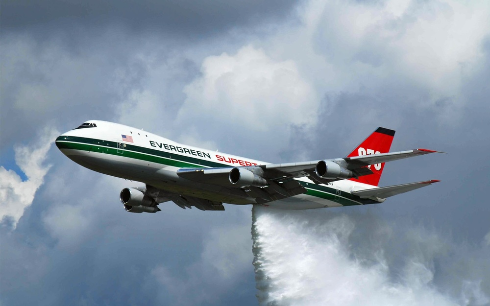 This 747 Evergreen SuperTanker has a capacity of 19,600 gallons of water used for fighting wildfires.  This is equivalent to a 3 person families' shower water consumption