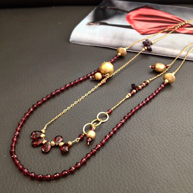 Garnet and vermeil necklace