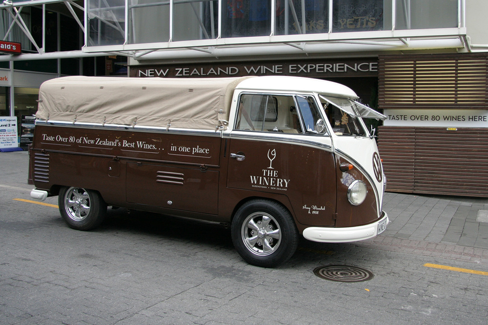The Winedub outside The Winery ready for a local wine delivery