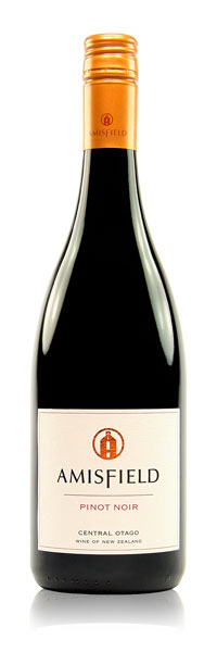 AMISFIELD PINOT NOIR 2014    A superbly balanced crop from Amisfield's single vineyard located at the foot of the Pisa Range created this well balanced gem.  An appealing ruby hue with sweet aromatics of black cherries, Doris plums and hint of cinnamon and clove. The palate is subtly smooth, complex and lush with dark chocolate and herbal characters, finely grained tannins and a seductive lingering finish. Enjoyable now but will continue to unfold.