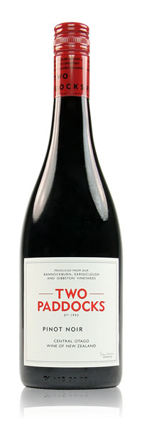 "TWO PADDOCKS PINOT NOIR 2015   ""It was the first wine I tasted when I landed in Queenstown and no wine has every matched that moment! Grab a glass of this beautiful, earthy, funky wine then stare at the mountains and feel that smile roll across your face"""