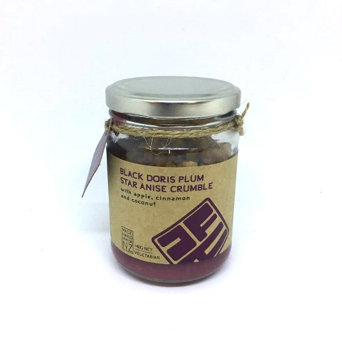 BLACK DORIS PLUM CRUMBLE  A delicious combination of black doris plum, cinnamon quills, star anise, fresh ginger, lime juice and zest. Heat and enjoy straight from the jar with your choice of cream or ice cream.