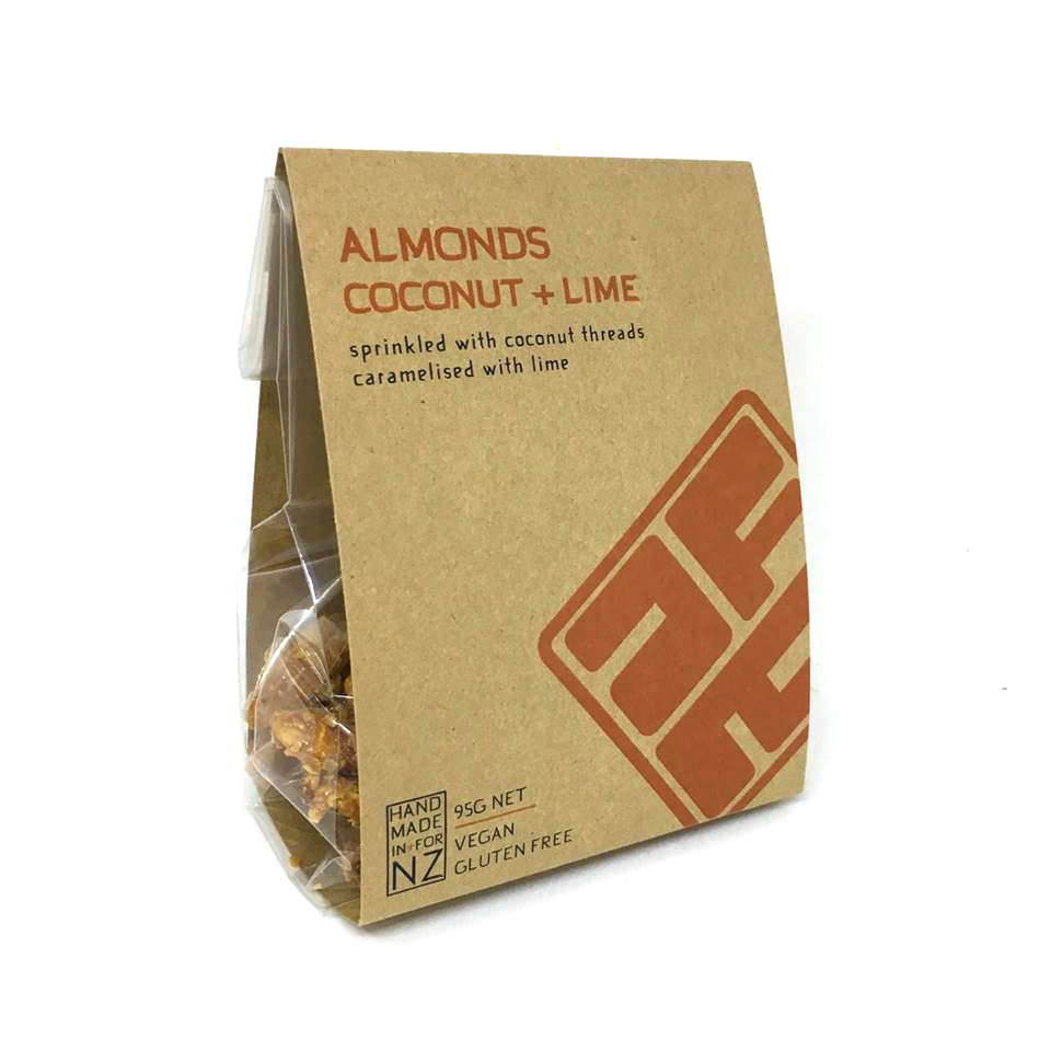 COCONUT + LIME ALMONDS  Caramelised with kaffir lime leaf and coconut. Enjoy straight from the packet or crush onto ice cream, crumble topping or add to your own muesli.