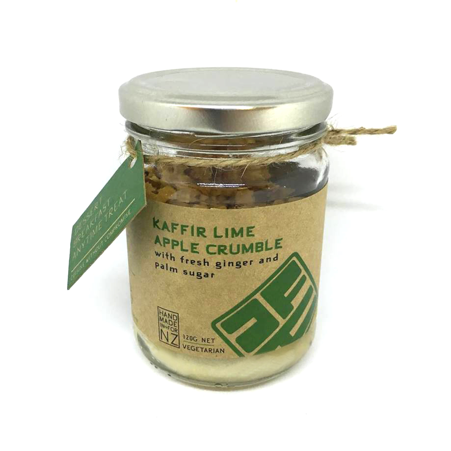 KAFFIR LIME APPLE CRUMBLE  Made with love using fresh ginger, lime juice and zest, manuka honey and palm sugar. Heat and enjoy straight from the jar with your choice of cream, yoghurt or ice cream.